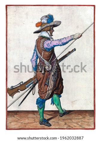 A soldier, full-length, to the right, holding a musket (a type of firearm) with left hand by left thigh and bringing right hand to the end of his ramrod, which he rests against his right side Royalty-Free Stock Photo #1962032887
