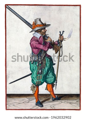 A soldier, full-length, to the right, placing a musket (a certain type of firearm) with his right hand on his left shoulder, the barrel pointing diagonally upwards Royalty-Free Stock Photo #1962032902