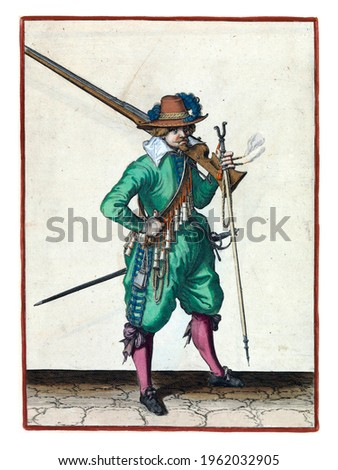A soldier, full-length, to the right, with a musket (a type of firearm) resting on his left shoulder. In his left hand, in addition to the butt of the musket, also a burning fuse and a furket Royalty-Free Stock Photo #1962032905