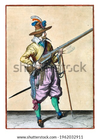 A soldier on guard, full-length, to the right, holding a musket (a certain type of firearm) by his right side, his right index finger on the trigger, his left hand around the fork of the furket Royalty-Free Stock Photo #1962032911