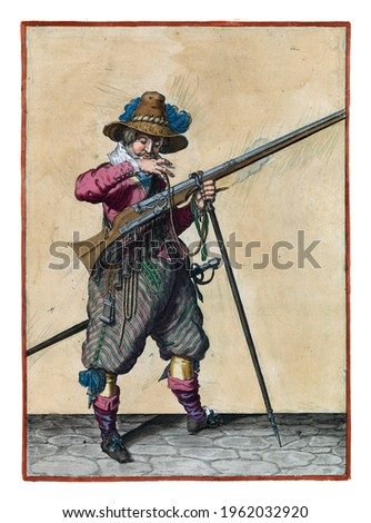A soldier on guard, full-length, to the right, holding a musket (a type of firearm) with his left hand by the fork of the furket (musket fork) on which the barrel rests Royalty-Free Stock Photo #1962032920