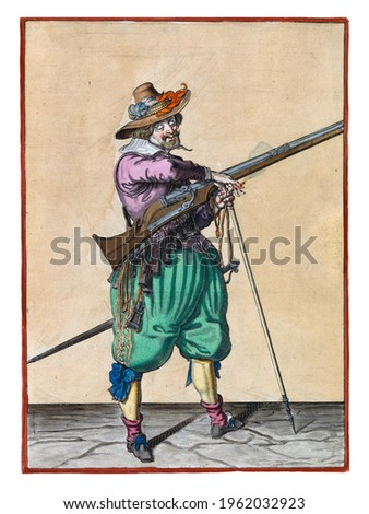 A soldier on guard, full-length, to the right, holding a musket (a type of firearm) with his left hand by the fork of the furket (musket fork) on which the barrel rests Royalty-Free Stock Photo #1962032923