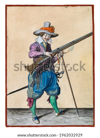 A soldier on guard, full-length, to the right, holding a musket (a type of firearm) with his left hand by the fork of the furket (musket fork) on which the barrel rests Royalty-Free Stock Photo #1962032929