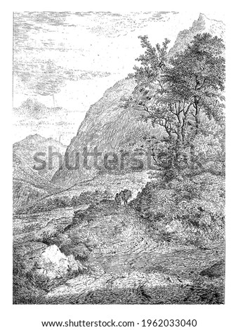 Mountain landscape with a figure and pack mule on a road.