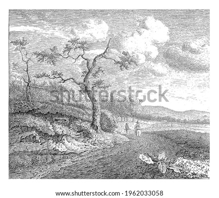 Two falconers on their way, one on horseback, the other on foot. A dog walks ahead of them. To the left two trees and shrubs.