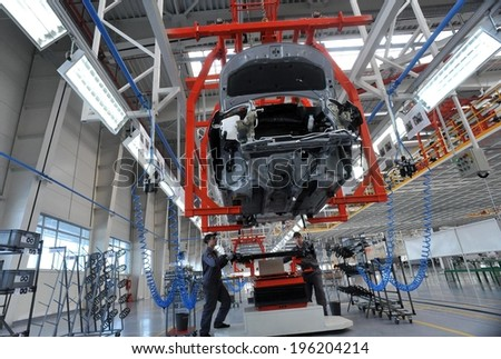 People work in the car factory in Lovech, Bulgaria, February 21, 2012 #196204214
