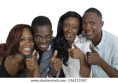 Four african young people thumb up, Studio Shot, Isolated #196211987
