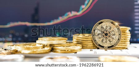 Cardano ADA cryptocurrency token digital crypto currency coin for defi decentralized financial banking p2p business and world stock exchange investment via internet online computer technology Royalty-Free Stock Photo #1962286921