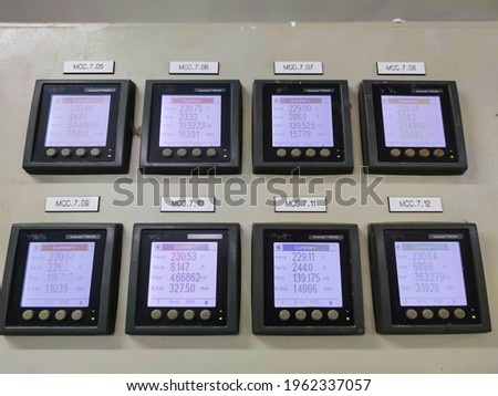 Power meter, industrial electricity meter.  Control room for measuring electrical system use in factories