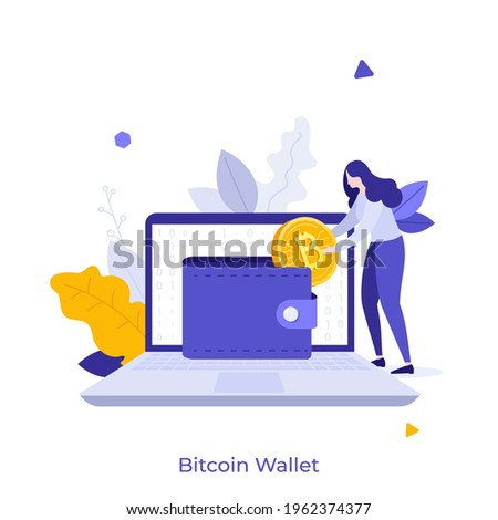 Woman putting golden crypto coin into purse on laptop computer. Concept of personal Bitcoin wallet for cryptocurrency storing, digital currency balance. Modern flat vector illustration for banner. Royalty-Free Stock Photo #1962374377