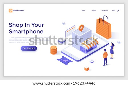 Landing page template with customers looking at store building on smartphone screen. Concept of mobile application for internet shopping, buying goods online. Modern isometric vector illustration. Royalty-Free Stock Photo #1962374446