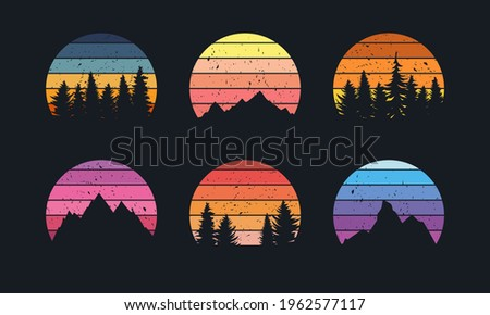 Retro sunset collection for banner or print. 80s style retrowave striped circles with mountains and forest trees Royalty-Free Stock Photo #1962577117