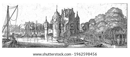 View of the Eerste Sint-Antoniespoort in Amsterdam, seen from the Geldersekade. Several boats in the foreground. After the city expansions at the end of the sixteenth century
