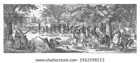 An elegantly dressed company of ladies and gentlemen, partly on horseback, watch from a forest edge how their falcons catch herons from the sky. Dogs pounce on the herons on the ground