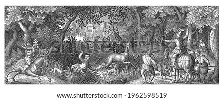 Two men on horseback are assisted by foot soldiers and dogs in hunting deer. A deer is impaled from two rowing boats that has fled into the water. In the background a castle on the water.