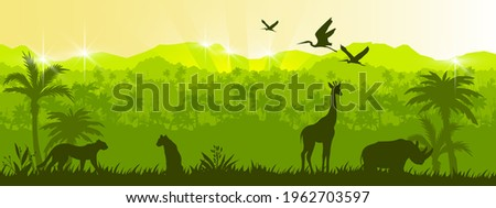 Jungle vector forest silhouette landscape, green tropical nature background, leopard, giraffe, rhino. Rainforest wildlife environment ecology banner, summer outline panorama. Animal jungle landscape Royalty-Free Stock Photo #1962703597