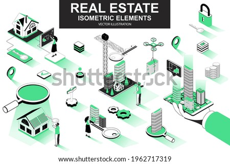 Real estate bundle of isometric elements. Skyscraper, office center, real estate agency, realtor with key, downtown architecture isolated icons. Isometric vector illustration with people characters. Royalty-Free Stock Photo #1962717319