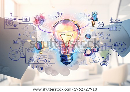 Businessman and businesswoman shaking hands and lightbulb drawing with circuit of network connection, icons of communication and analysis. Concept of business deal and agreement