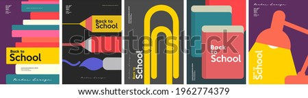 School backgrounds. A stack of books, stationery, a desk lamp, a paper clip. Set of flat, vector illustrations. Back to School. Elements and objects on school themes, simple background for poster. Royalty-Free Stock Photo #1962774379