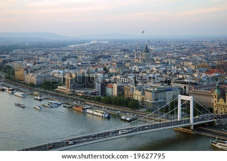 Budapest at dusk with the danube in the foreground #19627795