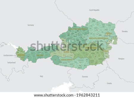 Detailed map of Austria with administrative divisions into region-states and district, major cities of the country, vector illustration onwhite background Royalty-Free Stock Photo #1962843211