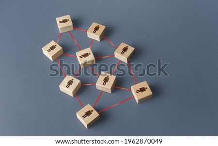 People network. Formation of friendly ties and business relations. Partnership. Social communication. Compact optimal work team. Turquoise modern management style, Teal Organizations structure. Royalty-Free Stock Photo #1962870049
