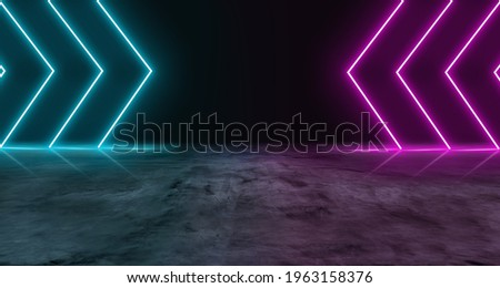 Blue and purple neon light on concrete cement floor and black background studio, Abstract high-tech, technology futuristic or entertainment feeling, Empty space in middle to place product or message. Royalty-Free Stock Photo #1963158376