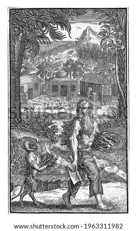 A hermit with long hair and beard is collecting wood. A monkey walks behind him, also carrying a bundle of branches.