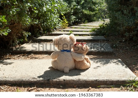 Two small teddy bear sitting on footpath in the park in sunlight Royalty-Free Stock Photo #1963367383