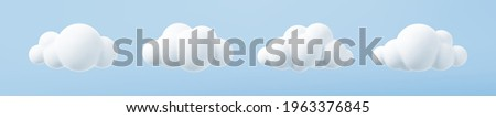 White 3d clouds set isolated on a blue background. Render soft round cartoon fluffy clouds icon in the blue sky. 3d geometric shapes vector illustration Royalty-Free Stock Photo #1963376845