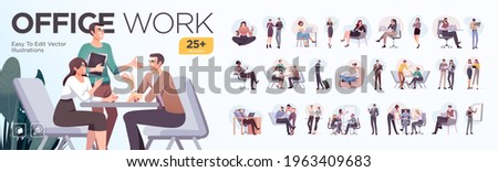 Business Concept illustrations. Mega set. Collection of scenes with men and women taking part in business activities. Vector illustration Royalty-Free Stock Photo #1963409683