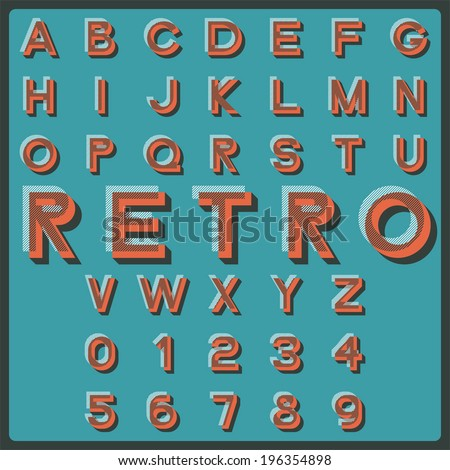 Design elements. Vector illustration of retro styled letters. #196354898