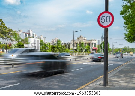 Traffic signs speed limit on the road