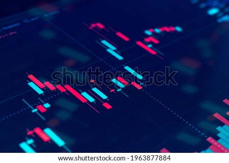 close up monitor screen with chart of stock graph, finance growth diagram Royalty-Free Stock Photo #1963877884