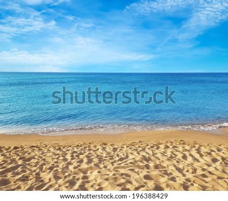 sea beach blue sky sand sun  #196388429