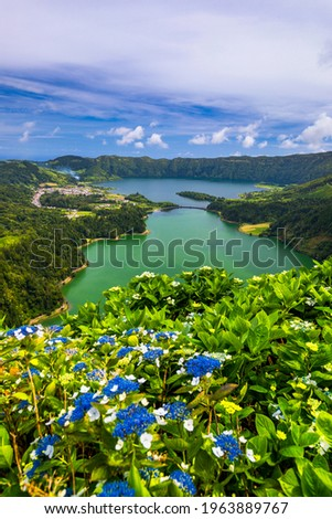 """Beautiful view of Seven Cities Lake """"Lagoa das Sete Cidades"""" from Vista do Rei viewpoint in São Miguel Island, Azores, Portugal. Lagoon of the Seven Cities, Sao Miguel island, Azores, Portugal. Royalty-Free Stock Photo #1963889767"""