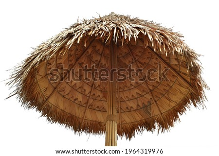 Reed parasol beach umbrella  isolated on white background. This has clipping path. Royalty-Free Stock Photo #1964319976