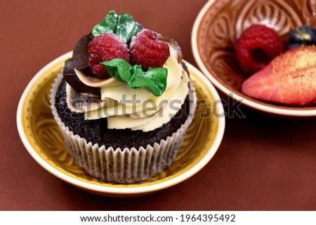 Chocolate vanilla cupcake with raspberries still life stock images. Delicious creamy cupcake with berries on a brown background stock photo. Fresh cupcake with berries close-up stock images