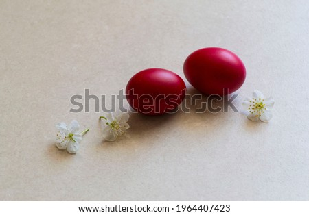 Picture with red Easter eggs. Background with red Easter eggs and blooming flowers.