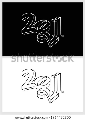 A minimalistic black and white poster image volumetric  numbers 2 0 2 1, perfect for New Year's corporate design.  Royalty-Free Stock Photo #1964432800