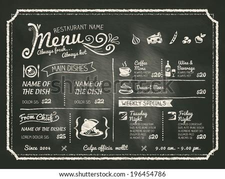 Restaurant Food Menu Design with Chalkboard Background Royalty-Free Stock Photo #196454786