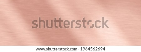 Abstract Shiny smooth foil metal Rosegold color background new Bright vintage Brass plate chrome element texture concept simple leaf golden backdrop design, light polished steel chrome web wallpaper. Royalty-Free Stock Photo #1964562694