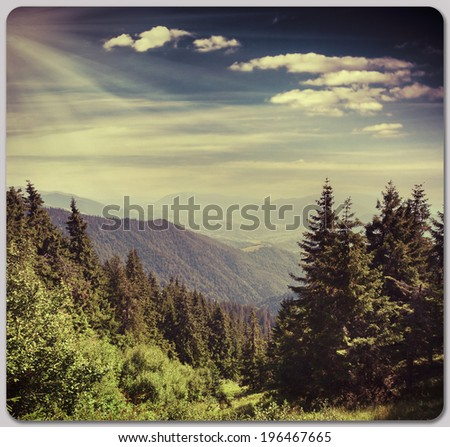 Summer landscape in the mountains. Retro style. #196467665