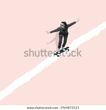 Woman riding on skateboard on pastel background. Modern design, contemporary art collage. Inspiration, idea, trendy urban magazine style. Negative space to insert your text or ad. Minimalism.