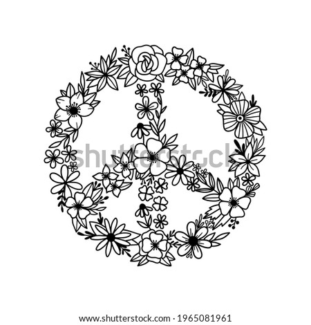 Floral peace symbol. Peace sign. Wildflowers in the shape of a symbol of peace. Peace symbol with flowers. Vector illustration.  Royalty-Free Stock Photo #1965081961
