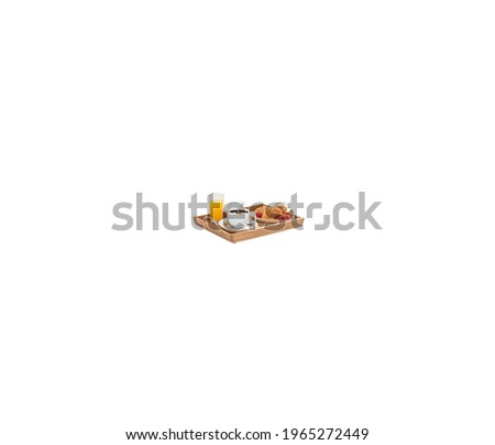 A close up shot of different type of breakfast and lunch isolated on white background.