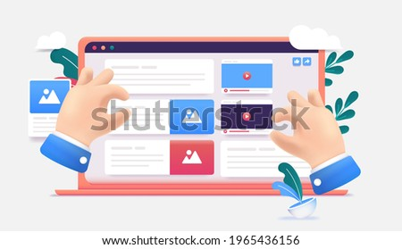 Web content creation - Illustration of hands building user interface with images, text and video. Website building and strategy concept. Vector format.