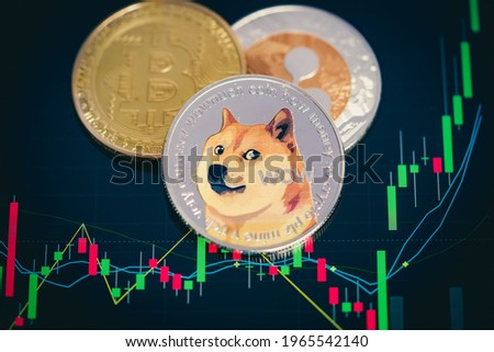 Focus select and blur Dogecoin cryptocurrency silver symbol and stock chart candlestick on tablets. Use technology cryptocurrency blockchain. with Capital Gain, Fundamental.