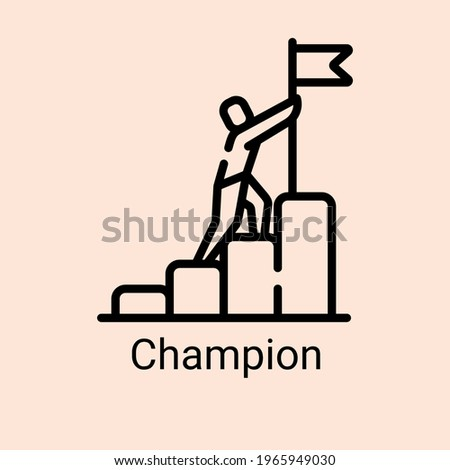 Sports champion symbol achieve cartoon icon