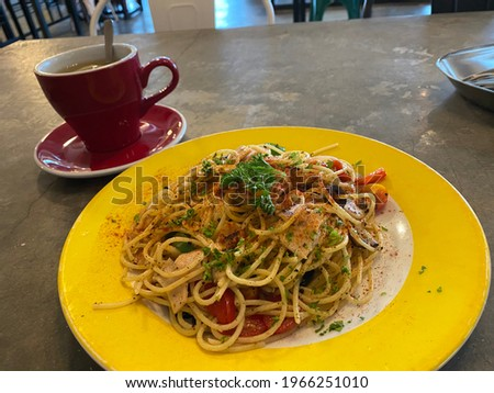 Kedah 20 January 2020. Picture of delicious Spaghetti with seafood and sprinkles of chilli flakes